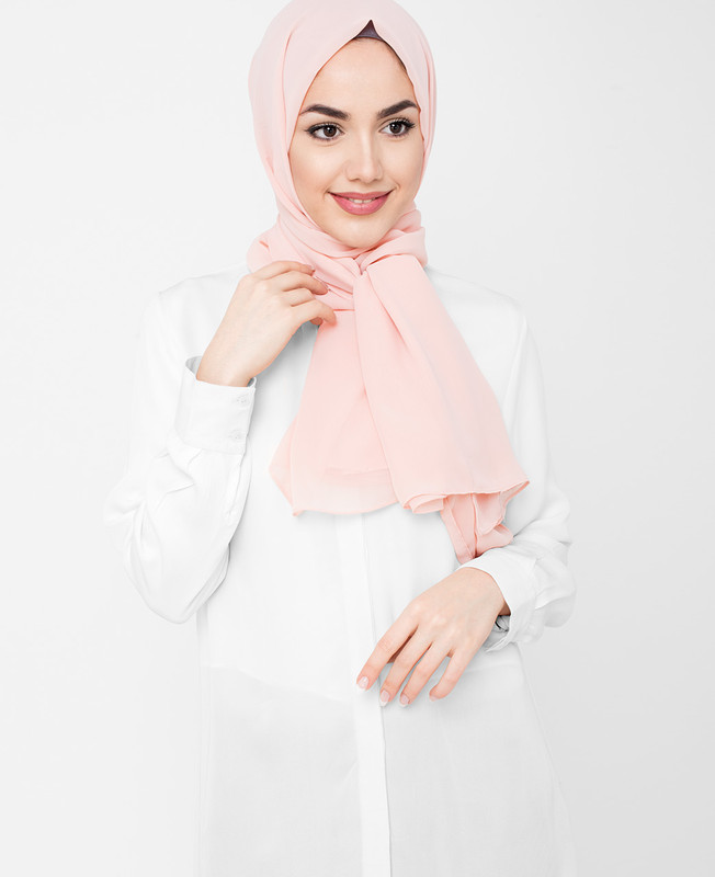 Silver Pink Poly Georgette Hijab