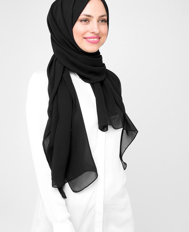 Black Poly Georgette Hijab