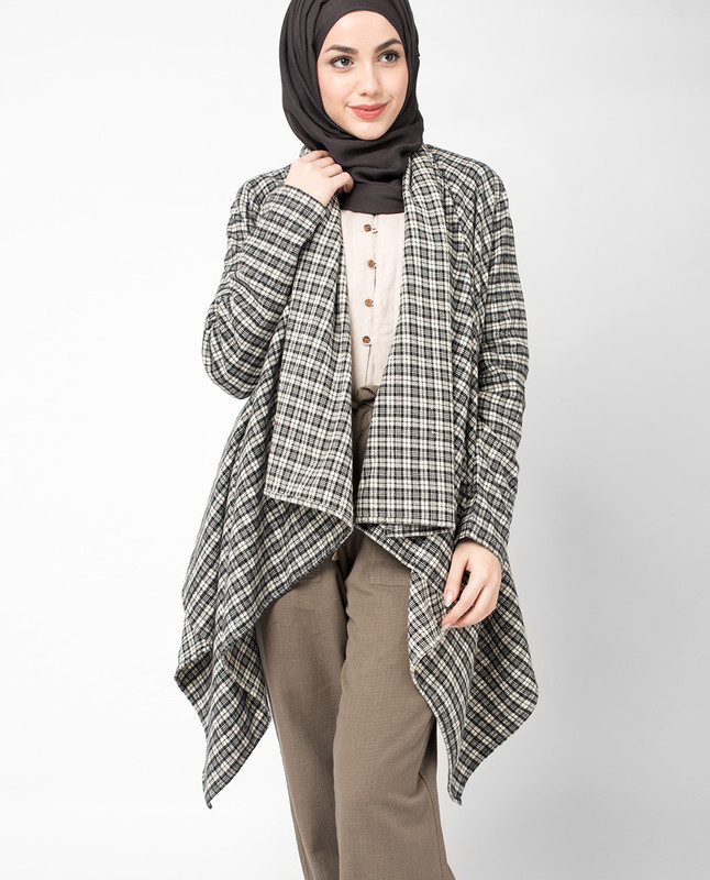 Checked Waterfall Cardigan