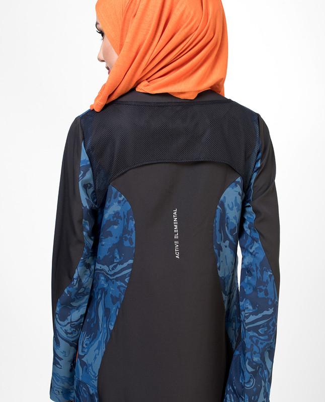Grey Blue Print Abaya