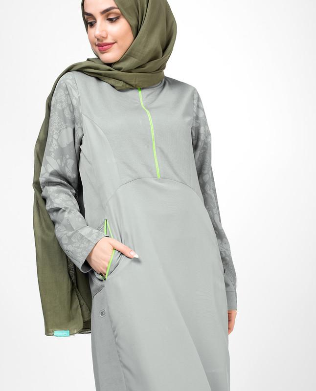 Inspiring Partial Print Knit Abaya
