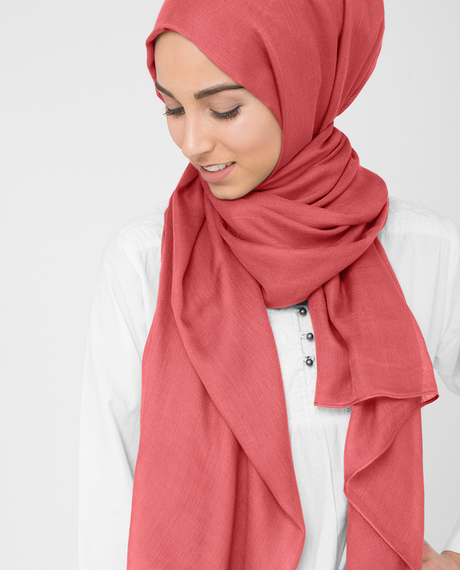Hot Coral Viscose Hijab