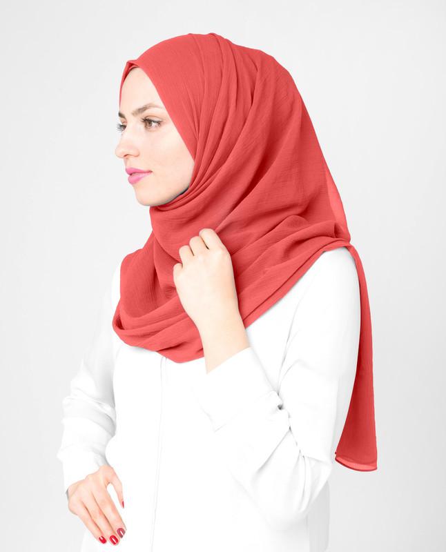 Coral Polychiffon Hijab
