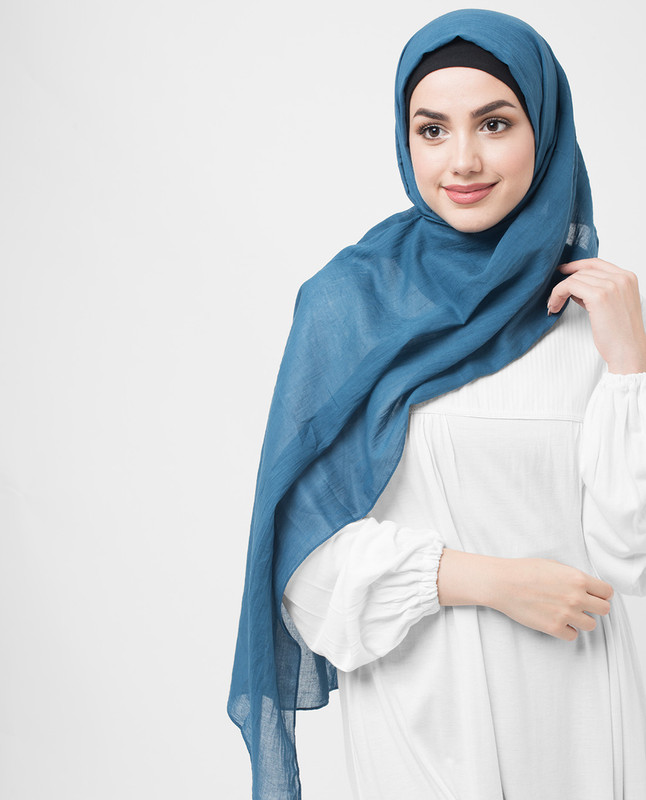 Real Teal Cotton Voile Hijab