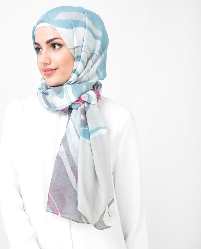 Serene White Milky Blue Printed Viscose Hijab