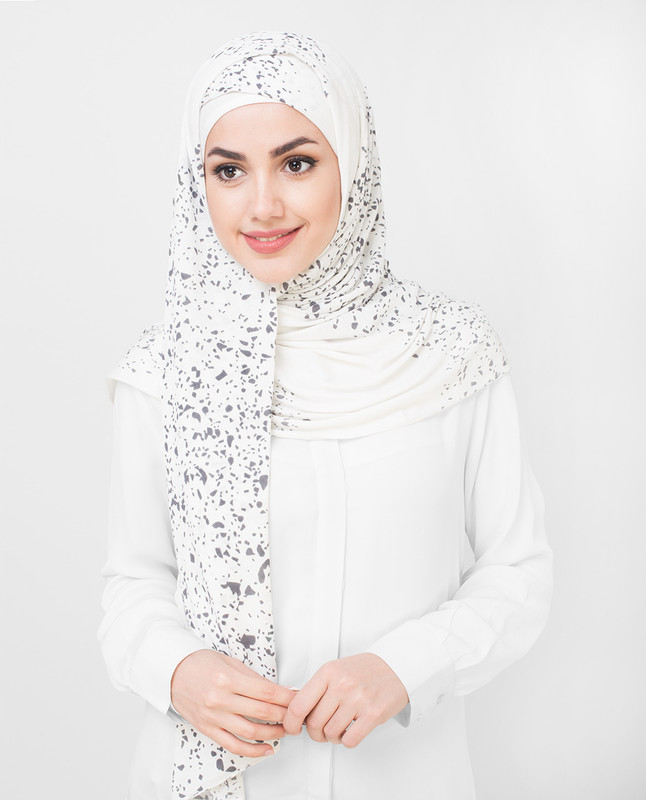 Grey Stoned White Jersey Hijab