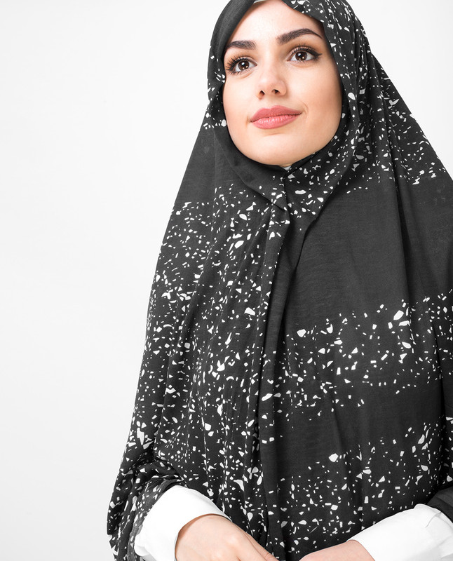 White Stoned Silver Jersey Hijab Black
