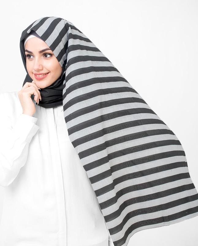 Grey Stripes Cotton Voil Hijab