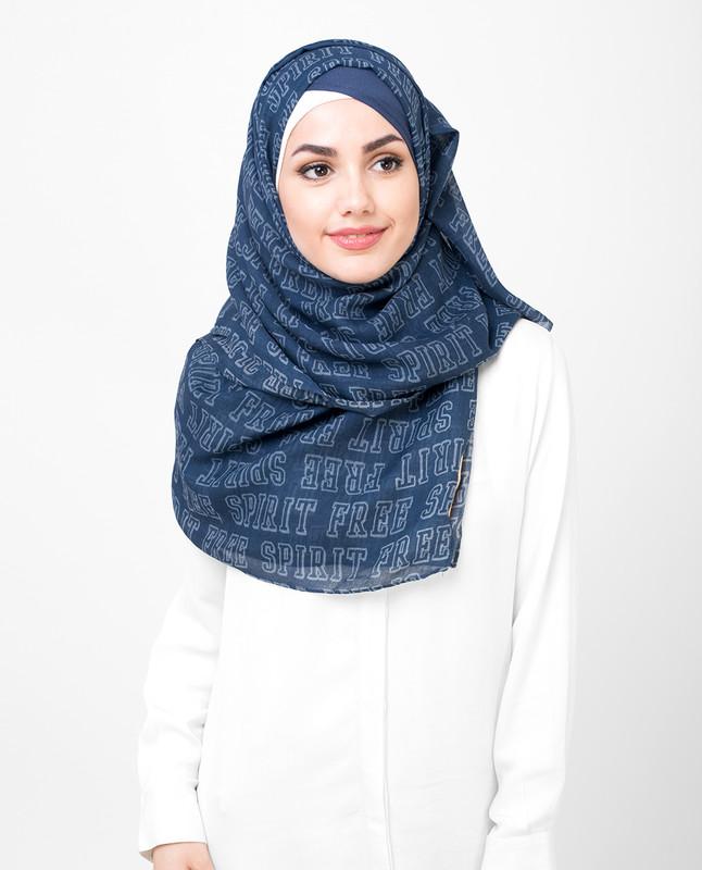 Navy Blue Free Spirit Print Viscose Hijab
