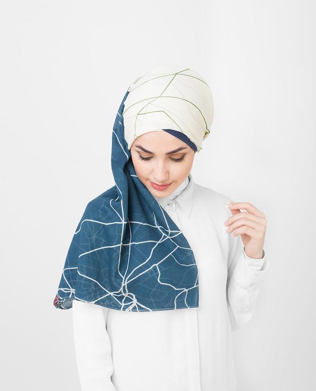 Blue White Pesto Printed Cotton Voil Hijab
