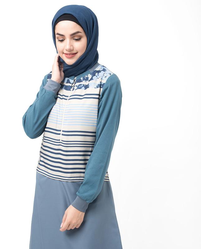 Black and Grey Floral Stripe Zip Down Jilbab