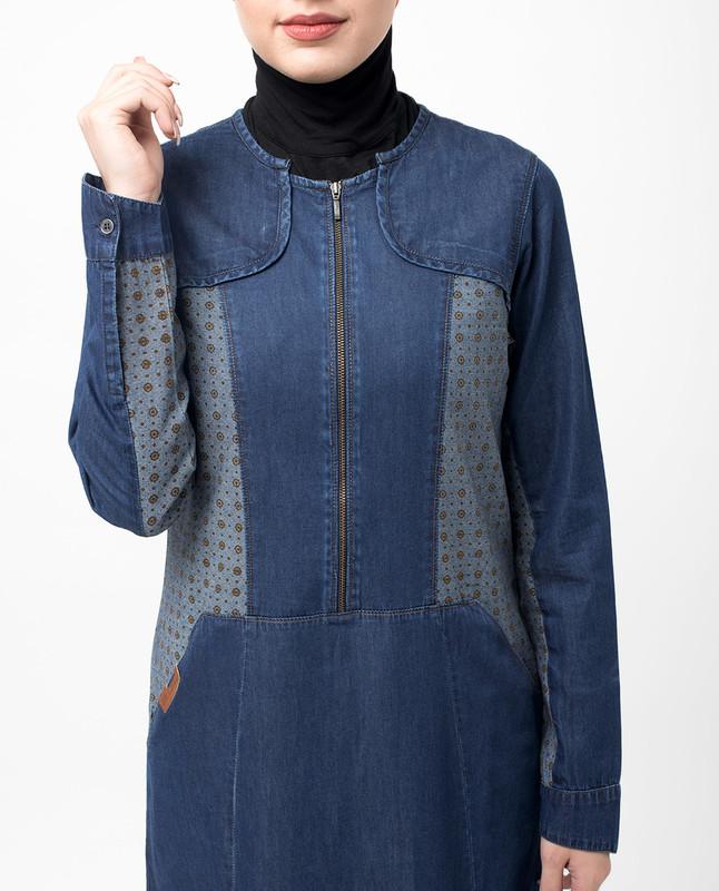 Zipped Fine Denim Print Maxi Jilbab