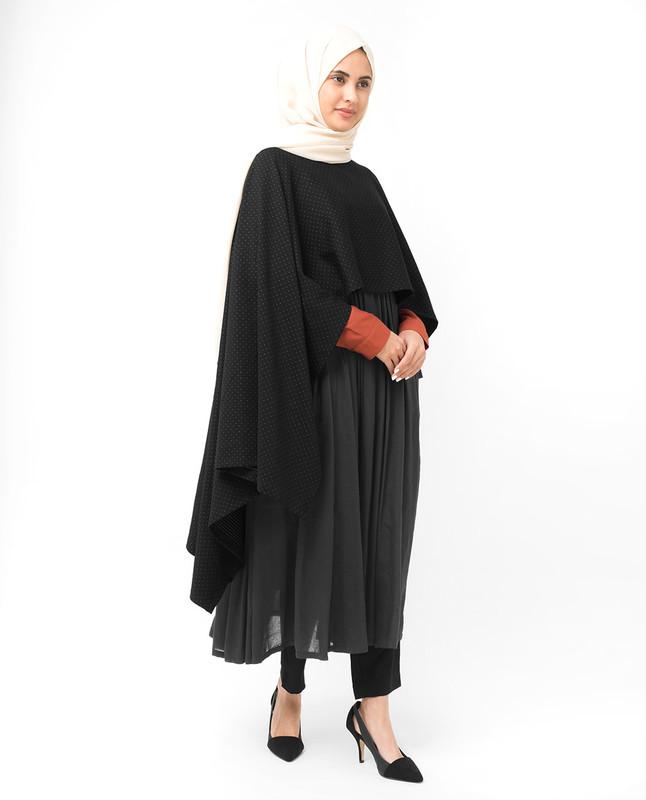 Black Asymmetric Dobby Knit Poncho