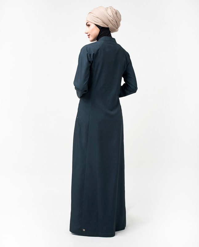 Quilted Button Front Blue Jilbab