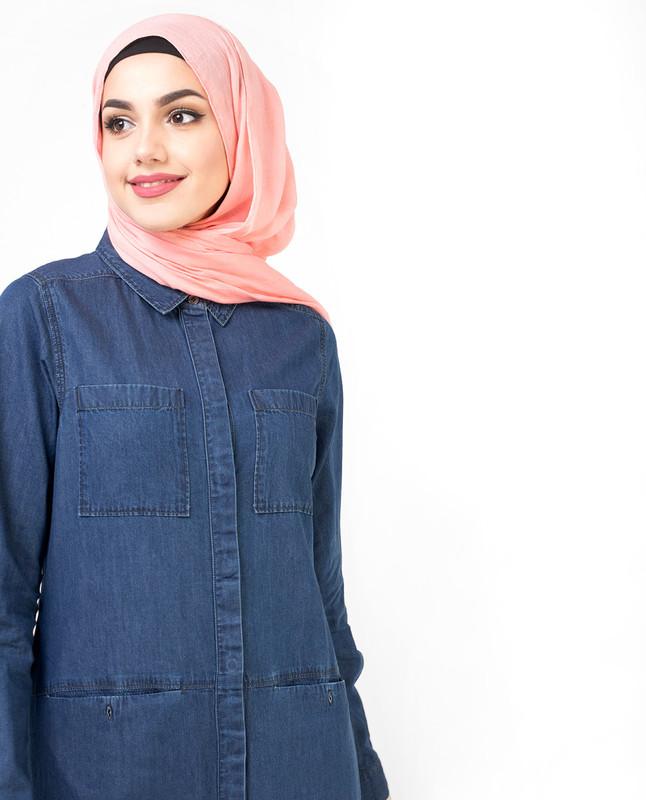 Full Front Open Fine Denim Jilbab