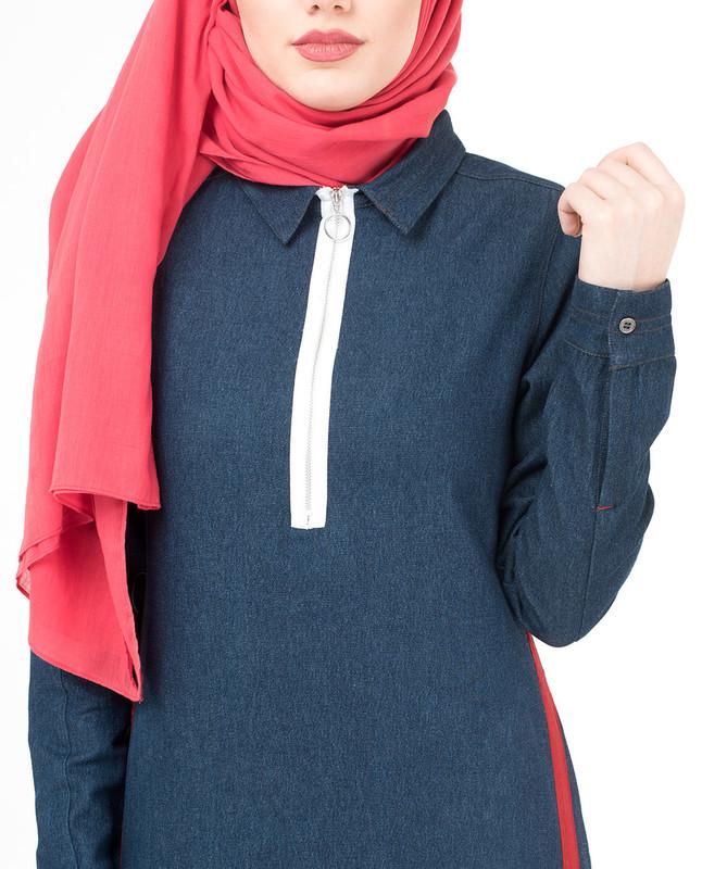 Subtle Denim Detail Jilbab