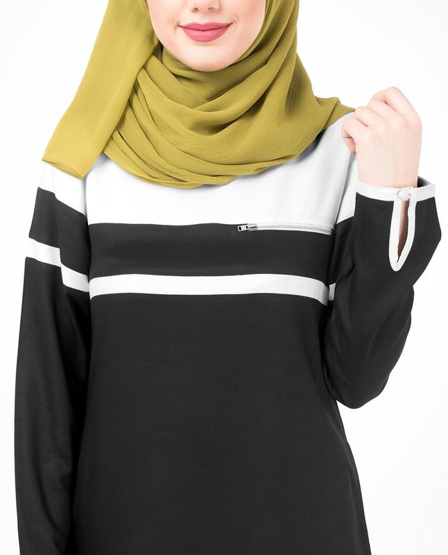Black and White Beauty Jilbab