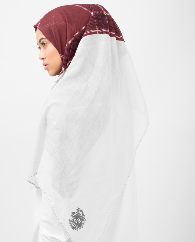 Burgundy Check Viscose Hijab