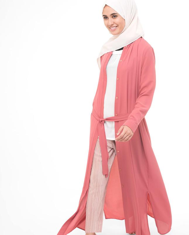 Back Emblem Pink Modest Shirt Dress