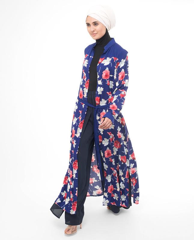 Floral Pop Modest Shirt Dress