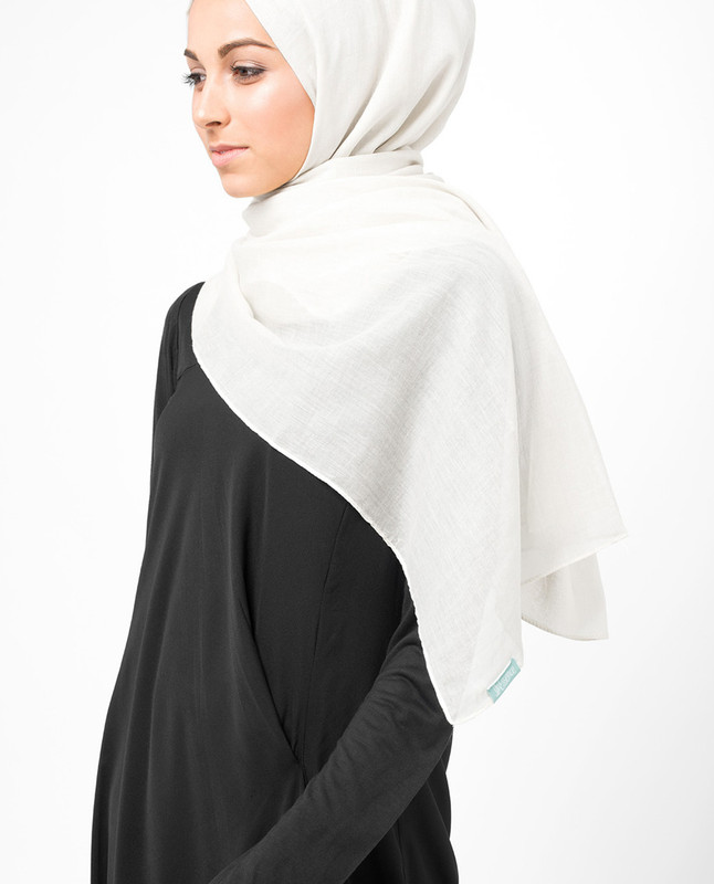 Bright White Cotton Voile Scarf