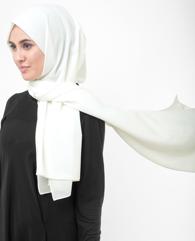 Bright White Poly Georgette Scarf