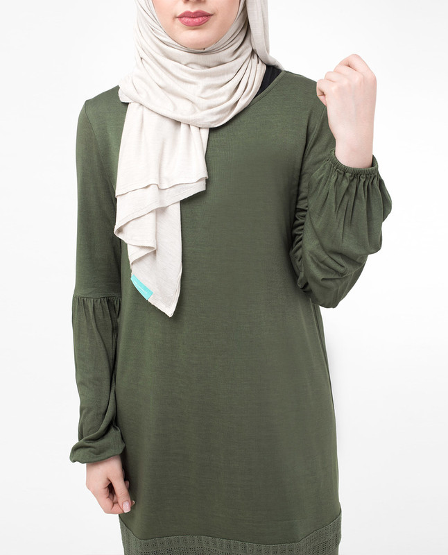 Green Lace & Tassel Modest Top