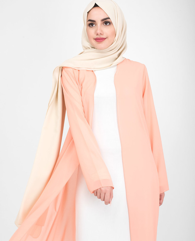 Long Sheer Coral Pink Outerwear