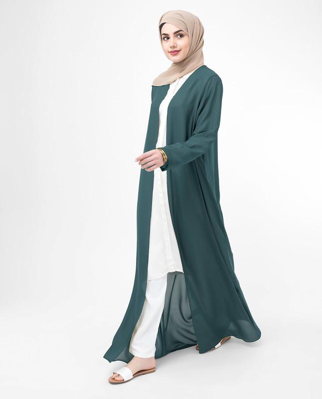 Long Sheer Dark Slate Blue Outerwear