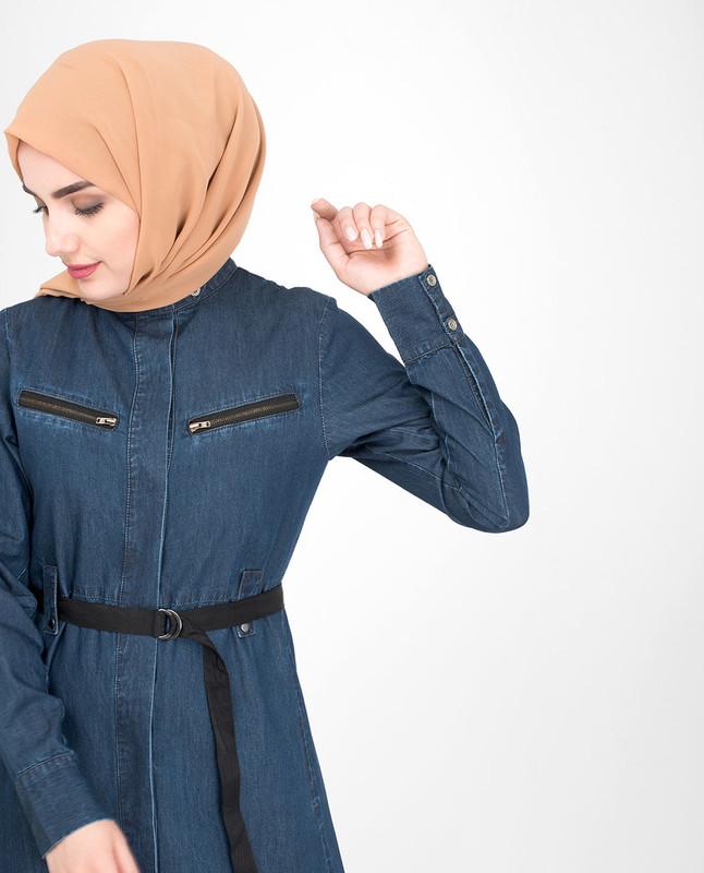 Front open denim jilbab abaya