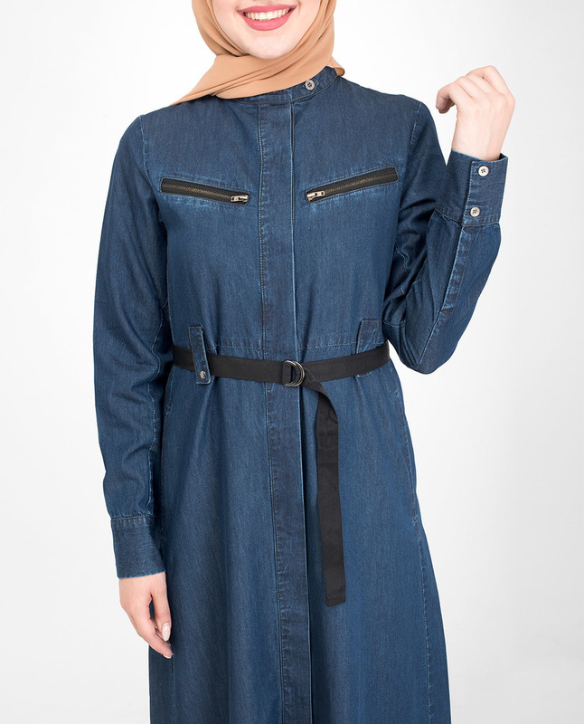 zip pockets denim abaya jilbab