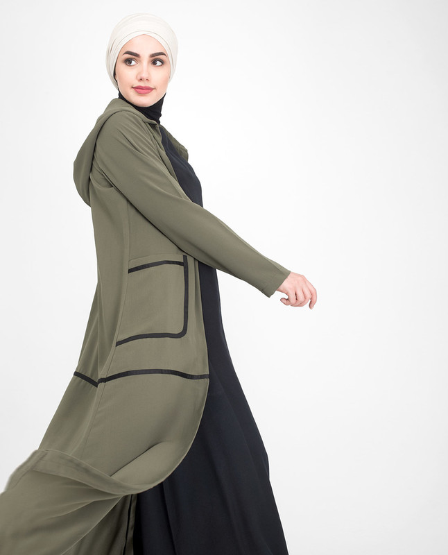 Front Open Olive Outerwear