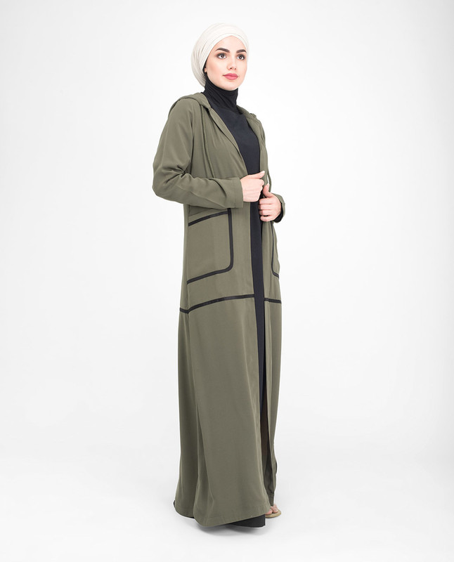 Green hooded abaya jilbab outerwear