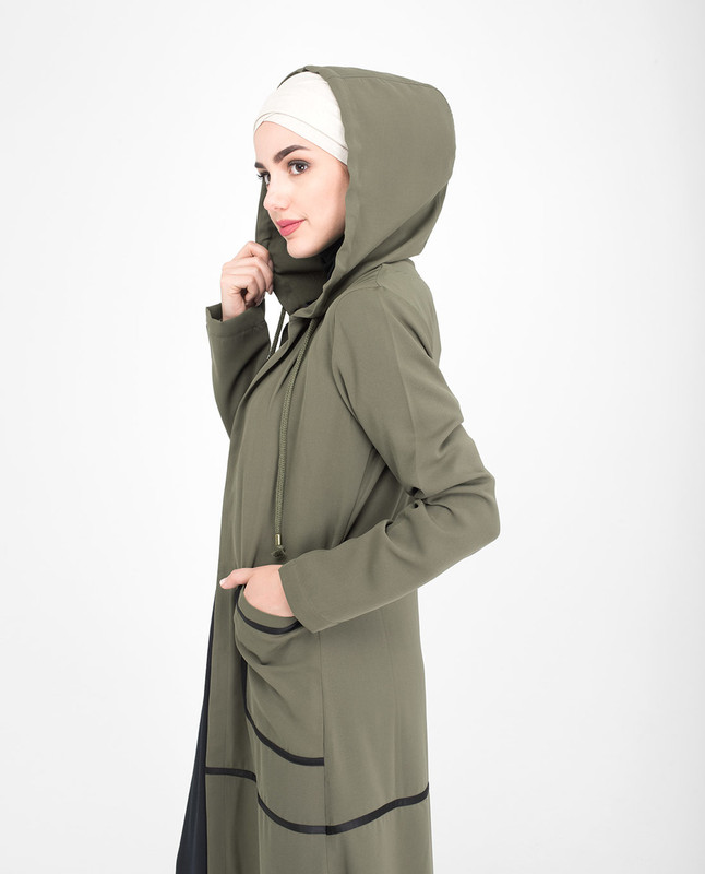 Green Full Front open outerwear abaya jilbab