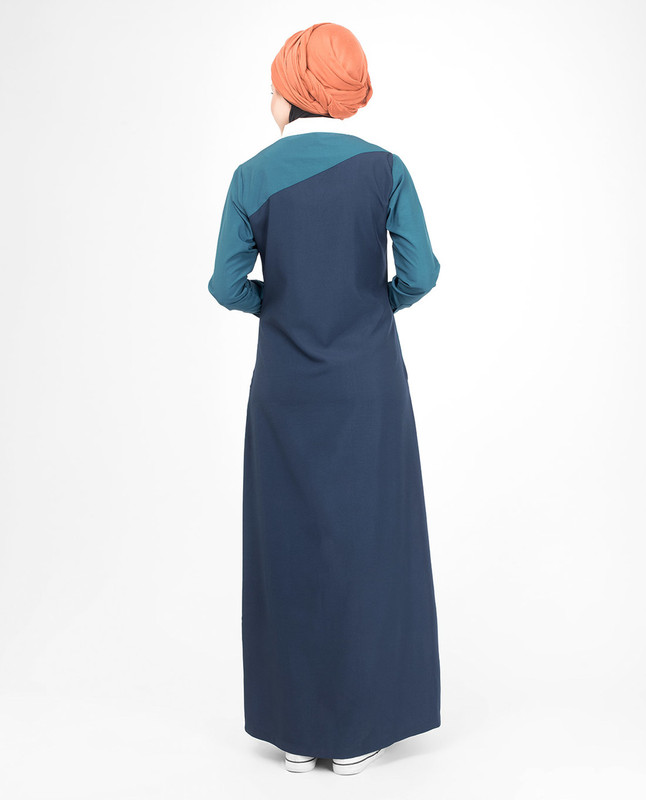 Green and blue abaya jilbab