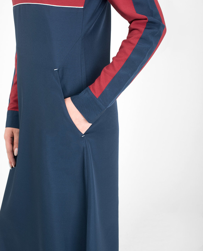Red collar abaya jilbab