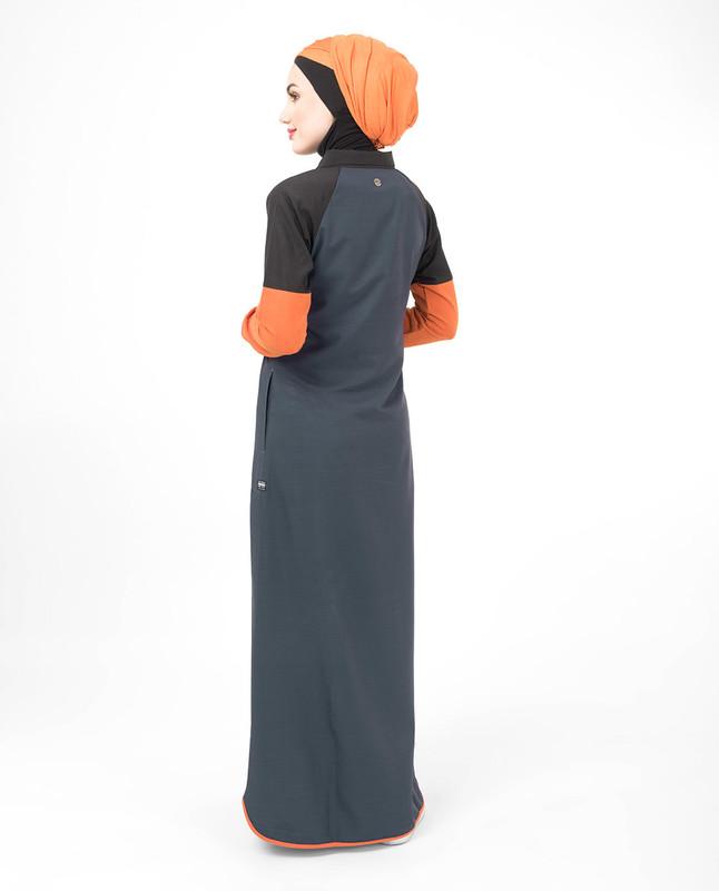 Polo collar grey abaya jilbab