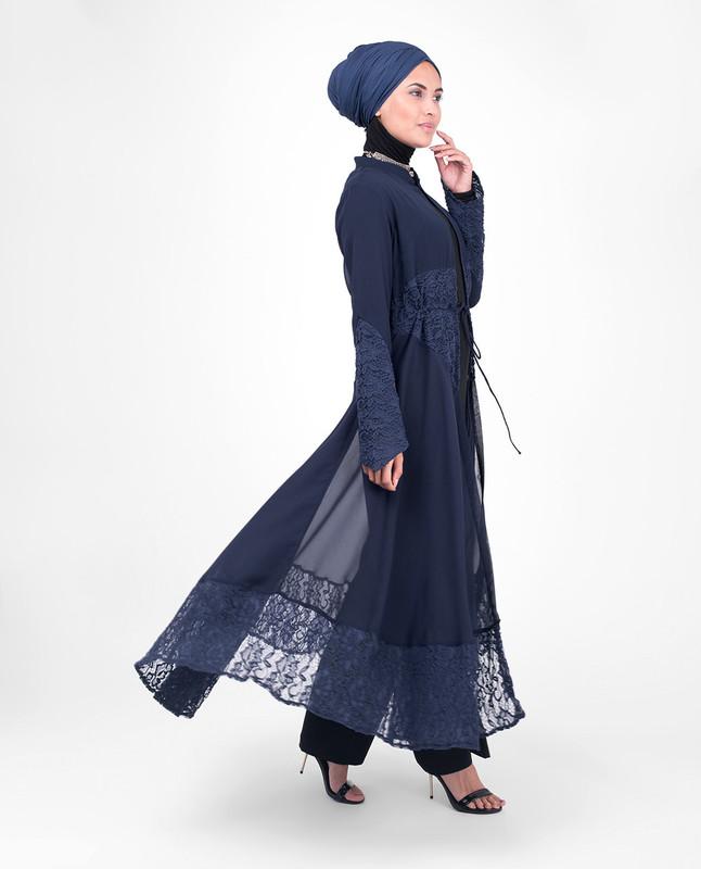 Long Full Length Navy Elegant Lace Outerwear