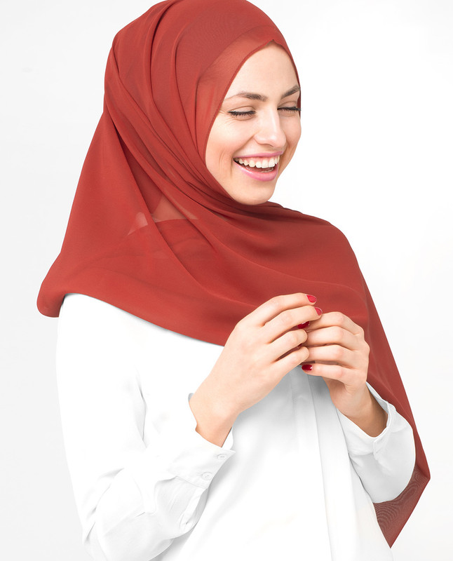 Red Clay Poly Georgette Scarf