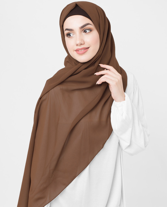 Cocoa Brown Poly Georgette Scarf