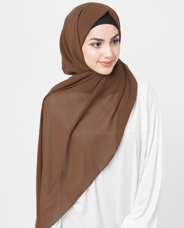 Brown woven hijab scarf