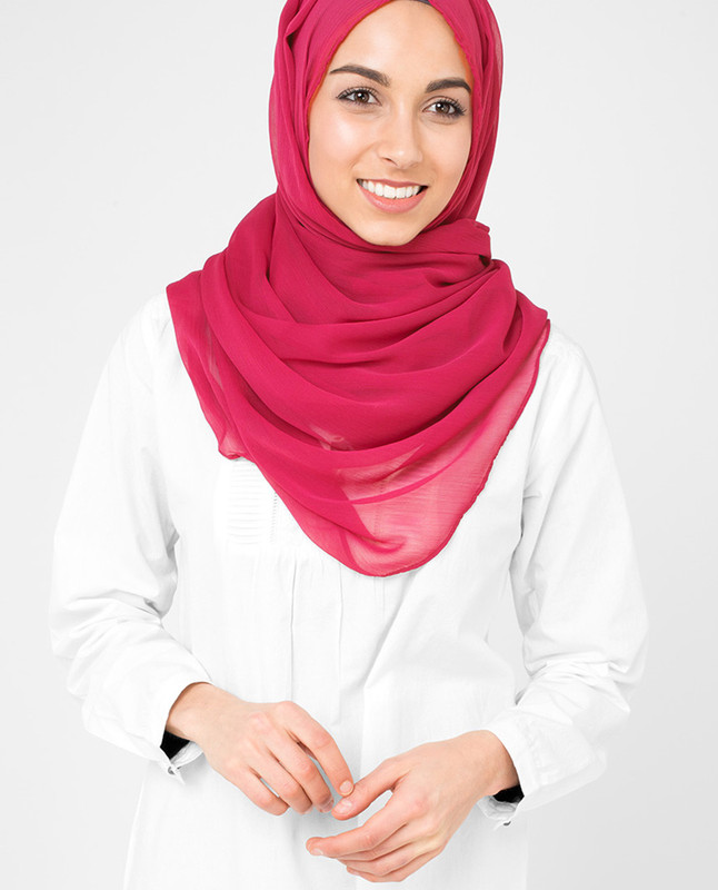 Virtual Pink Poly Chiffon Scarf