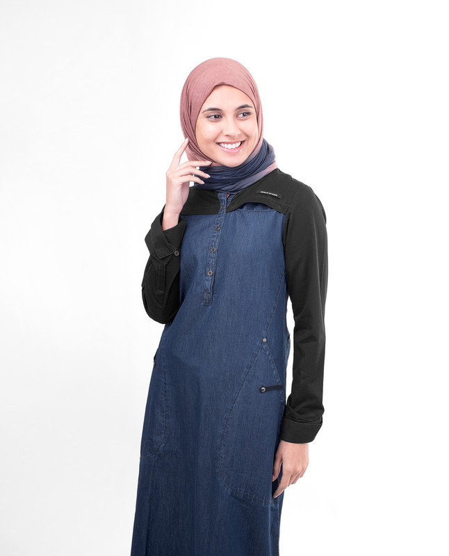 Black Contrast Denim Jilbab
