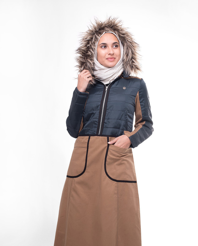 Brown & Navy Fur Hooded Winter Jilbab