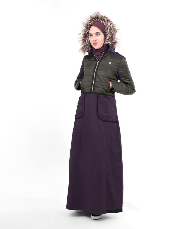 Purple winter abaya jilbab
