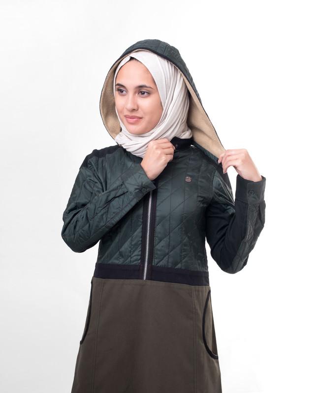 Winter zip opening abaya jilbab