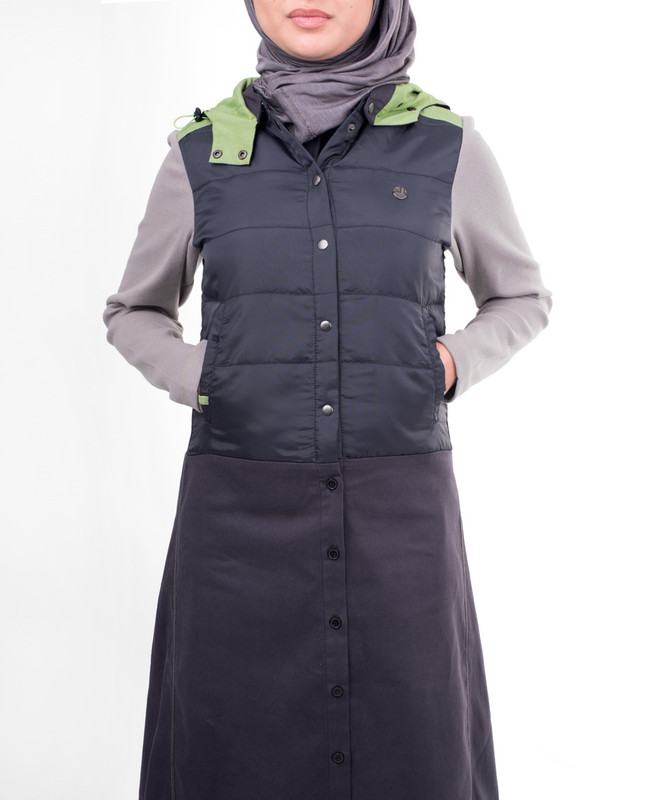 Detachable hood winter abaya jilbab