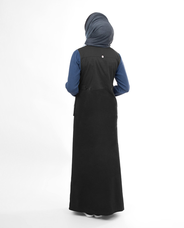 Full Buttoned black abaya jilbab