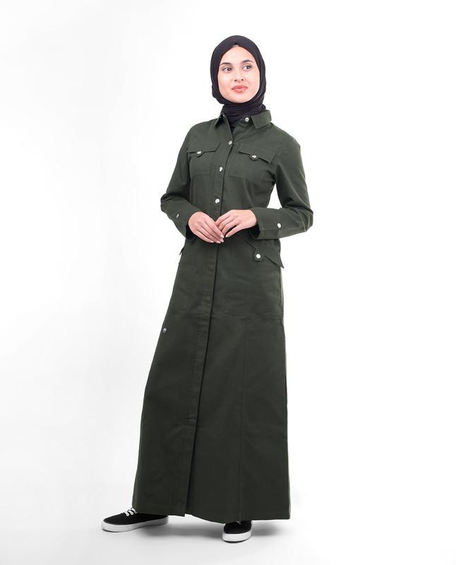 Olive Full Front Open Jilbab