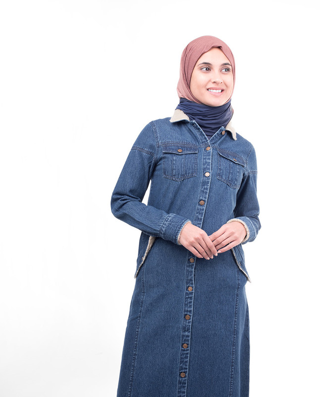 Full Front Open Denim Jilbab
